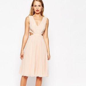 ASOS Dusty Pink Midi Cutout Dress